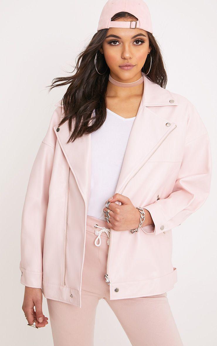 Lakeisha Pink Oversized PU Biker Jacket