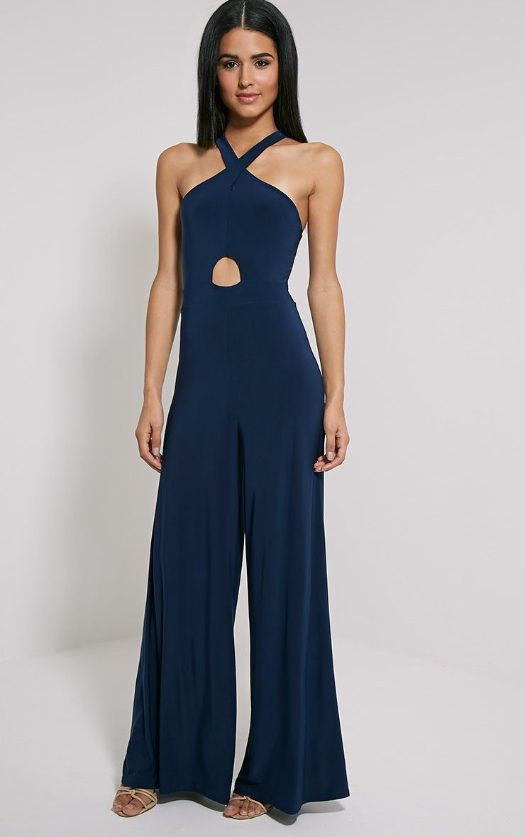 Jessi Navy Cross Front Wide Leg Jumpsuit 1