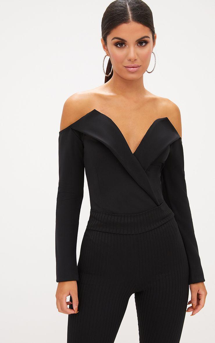 Black Tux Blazer Detail Bardot Bodysuit