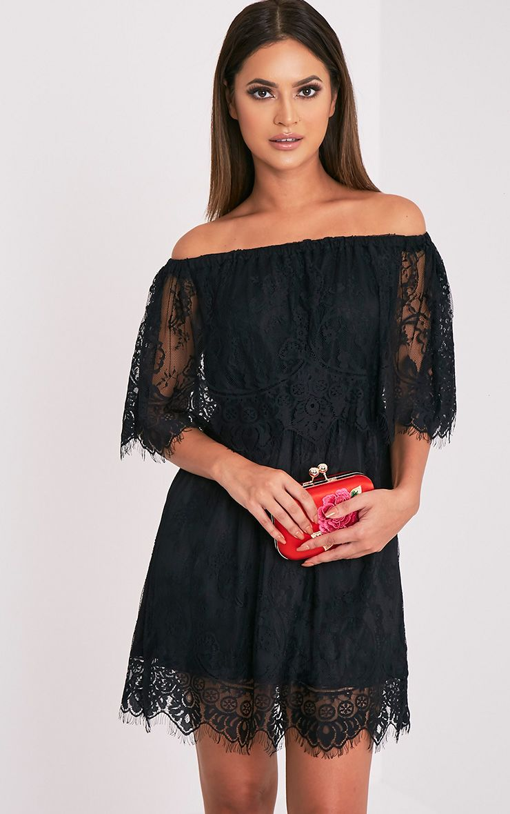 Zoe Black Eyelash Lace Bardot Dress 1
