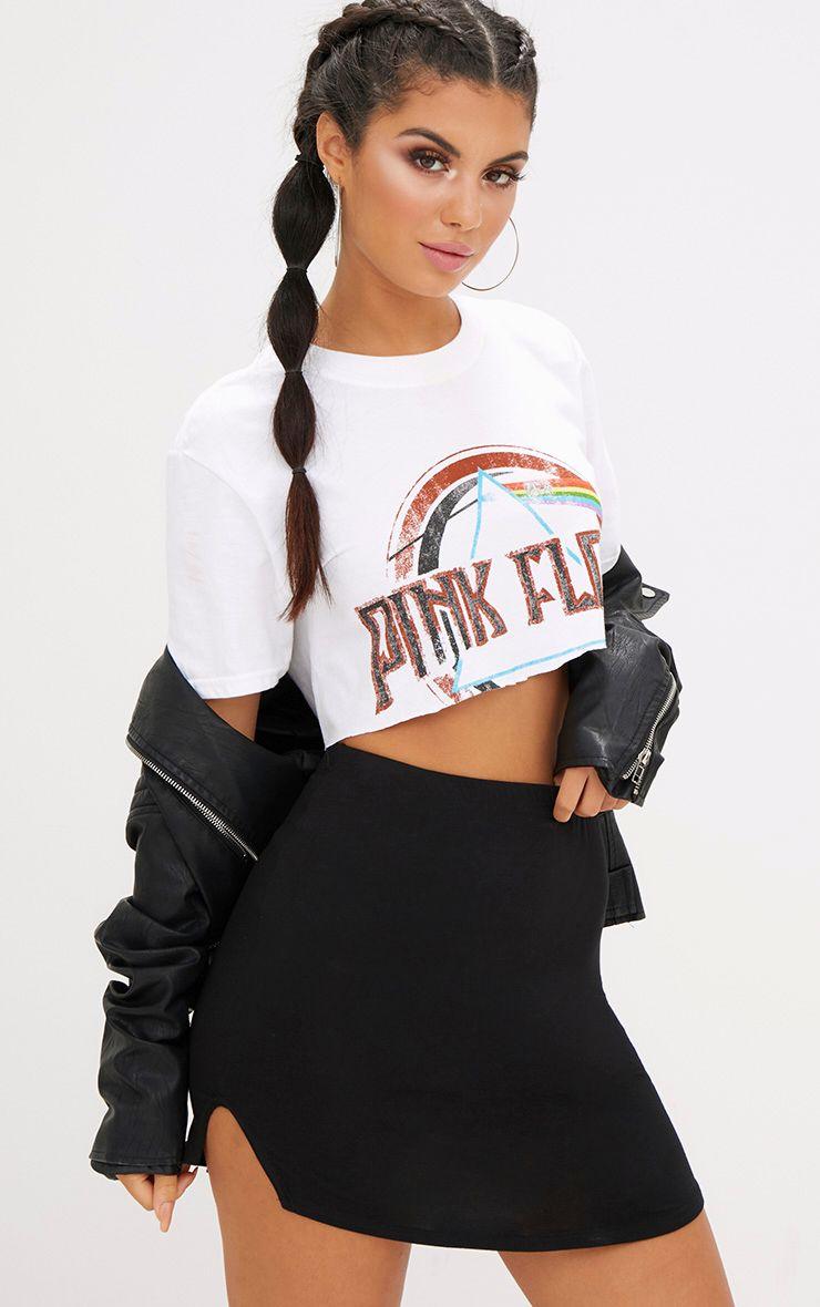 Black Double Side Split Mini Skirt