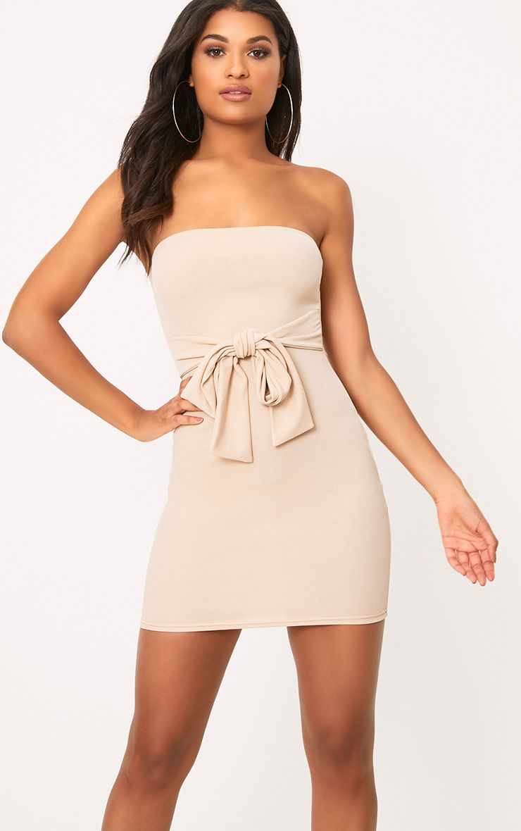 Nude Bandeau Tie Front Bodycon Dress