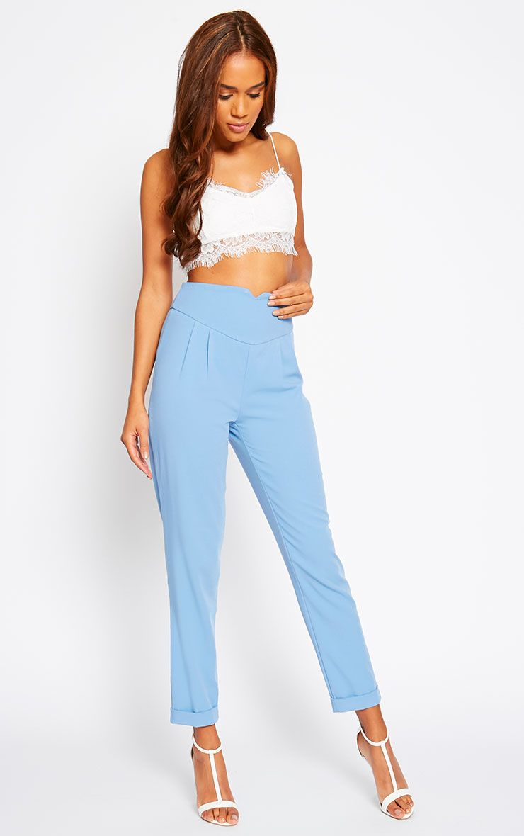 Elenor Blue High Waisted Tapered Trousers 1