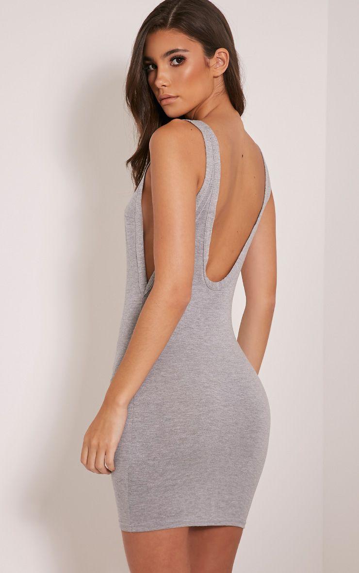 Basic Grey Drop Armhole Scoop Back Bodycon Dress 1