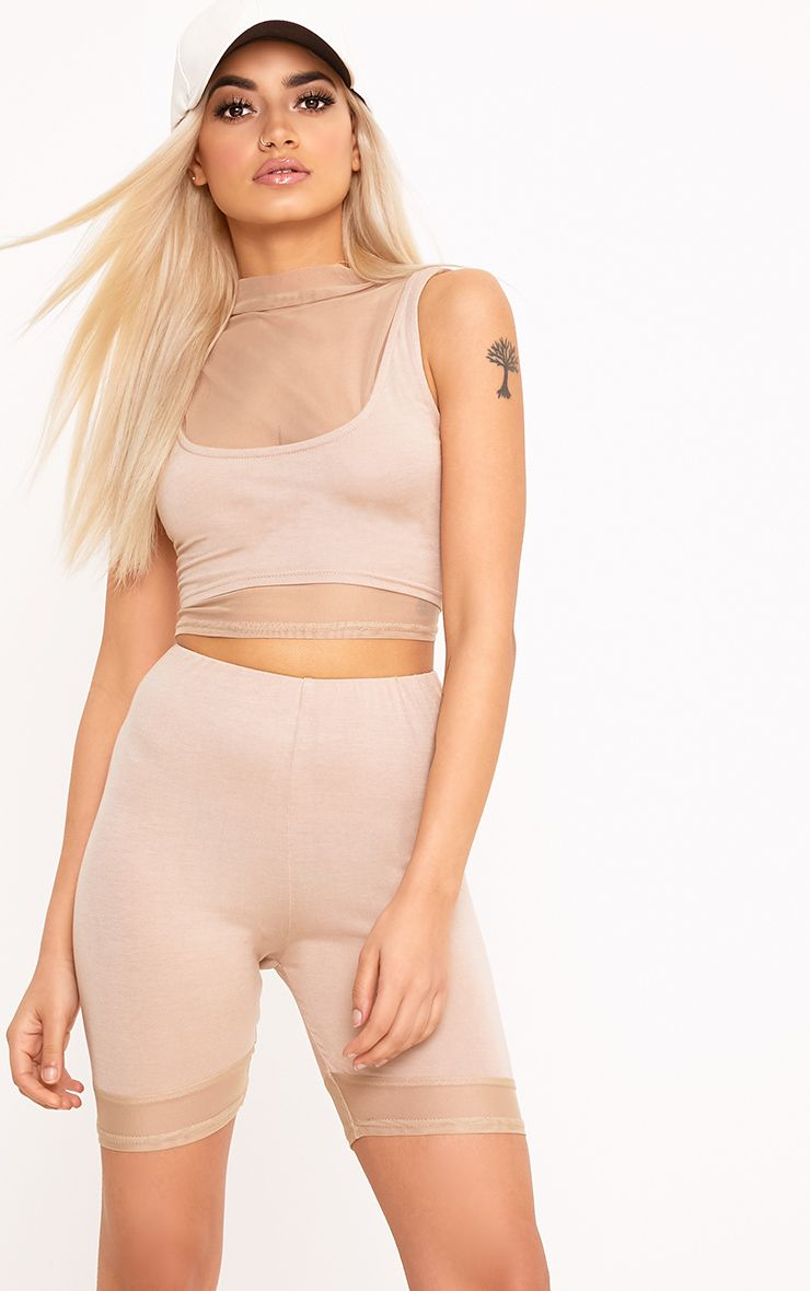 Cicley Nude Mesh Hem Cycle Shorts