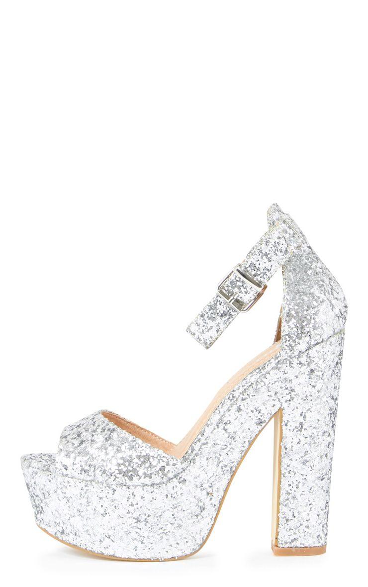 Effie Silver Glitter Strappy Heeled Sandals  1