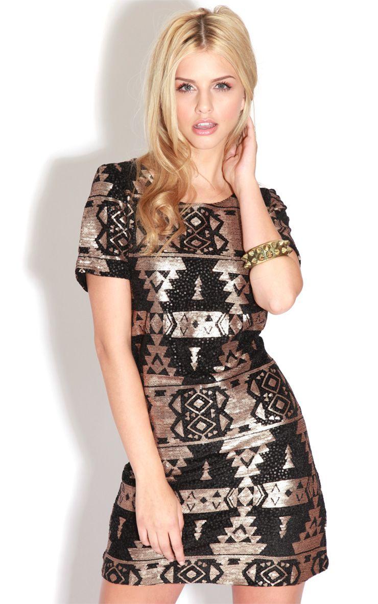 Louise Black & Gold Sequin Aztec Shift Dress-M/L 1