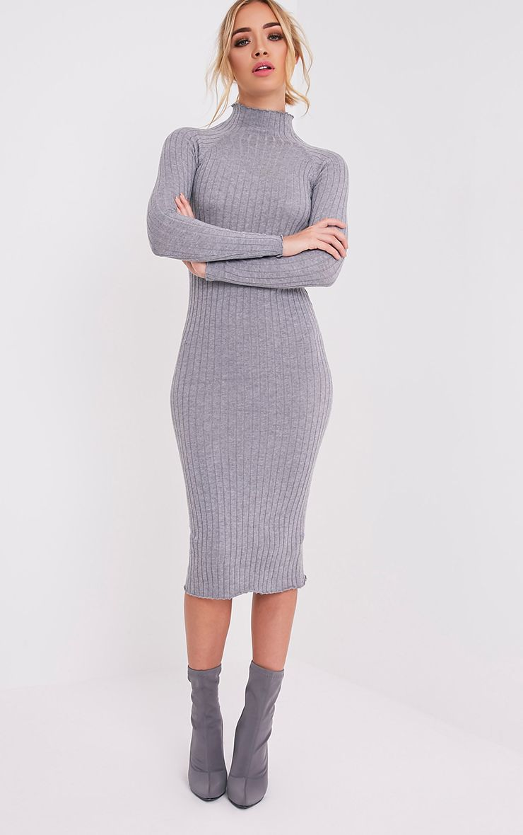 49c497ce6a28 Katalina Grey Wide Ribbed Knitted Midi Dress - Knitwear ...