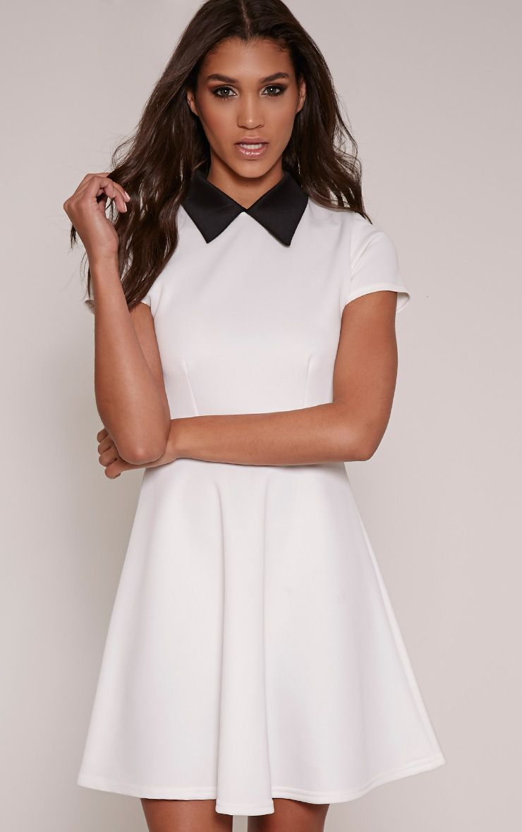 Melanie Cream Collar Detail Skater Dress 1