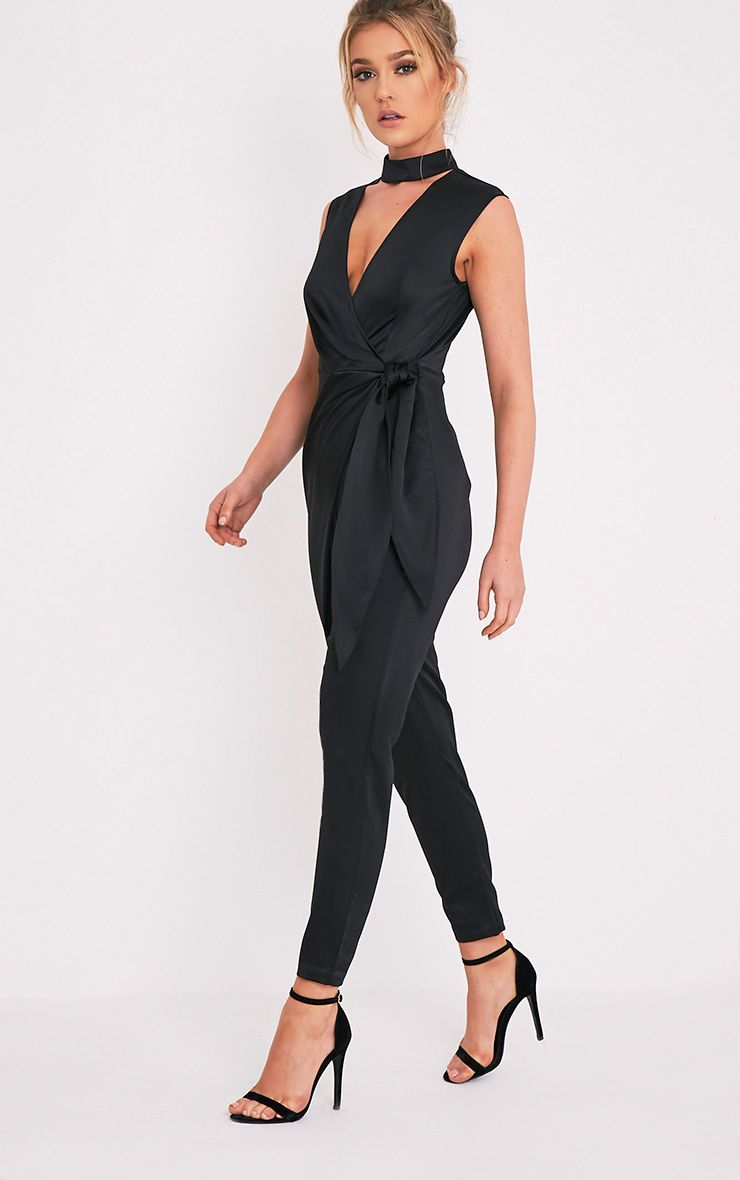 Carla Black Tie Side Choker Detail Satin Jumpsuit