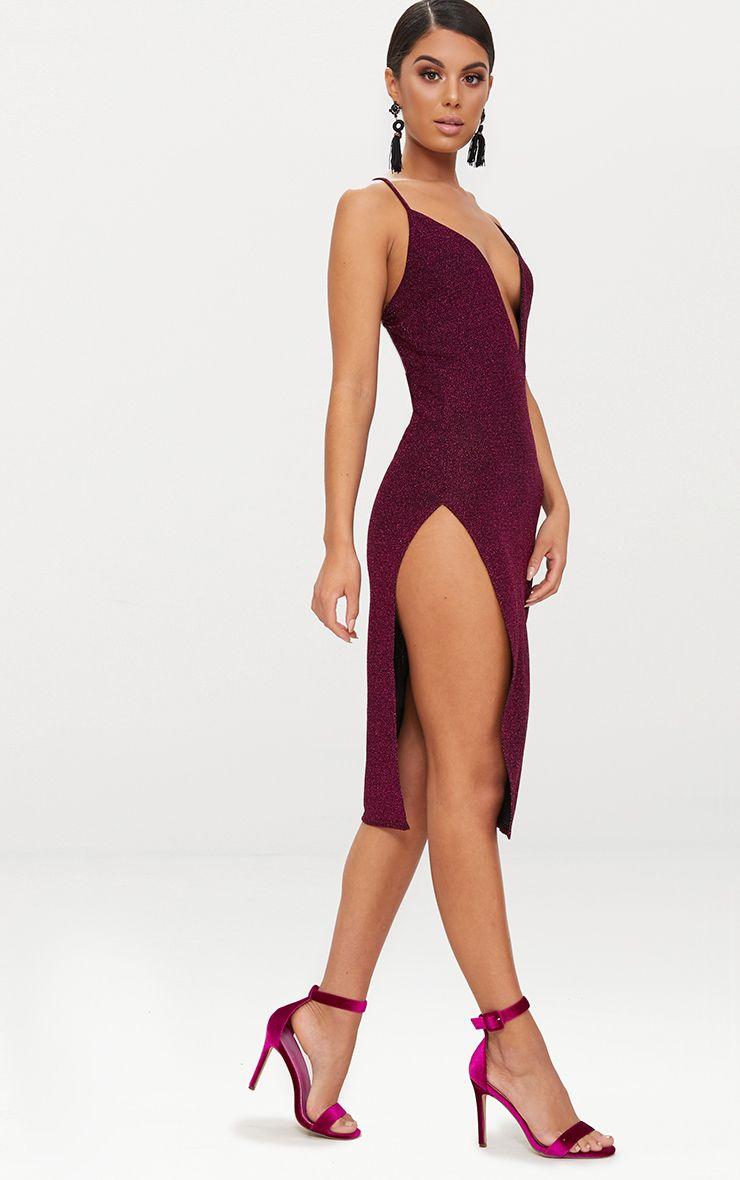 Fuchsia Glitter Strappy Plunge Extreme Split Midi Dress