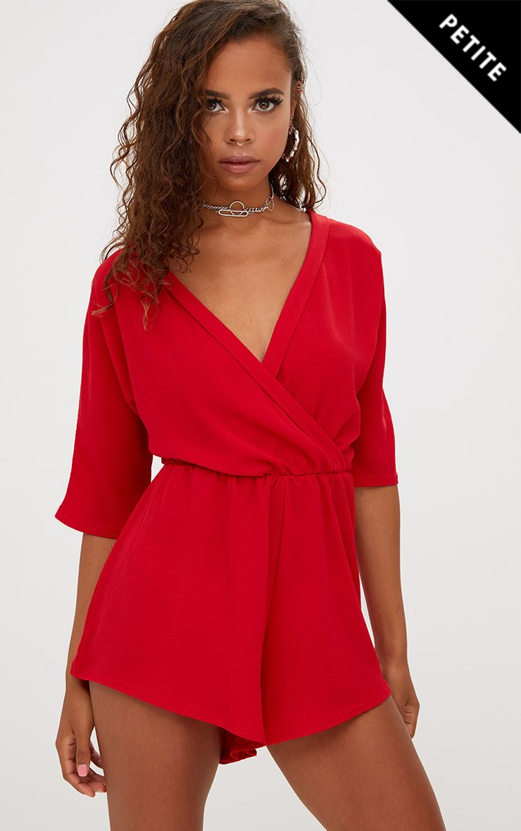 Petite Red Wrap Front Playsuit