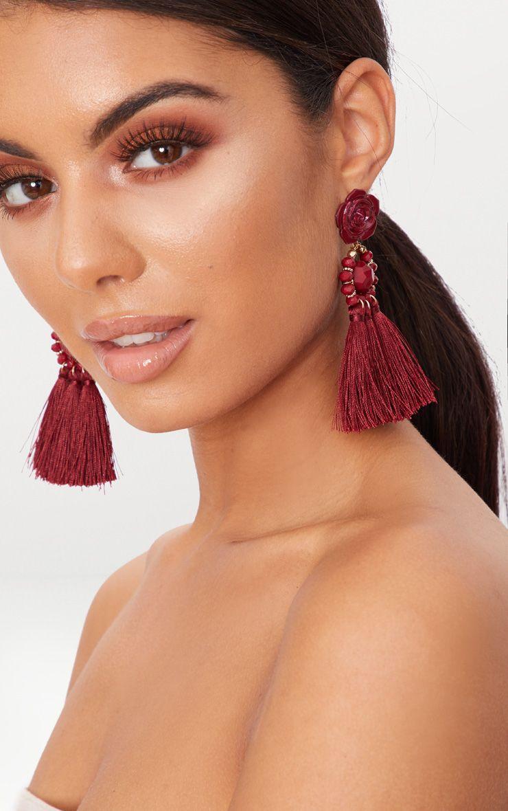 Red Rose Tassel Drop Earrings