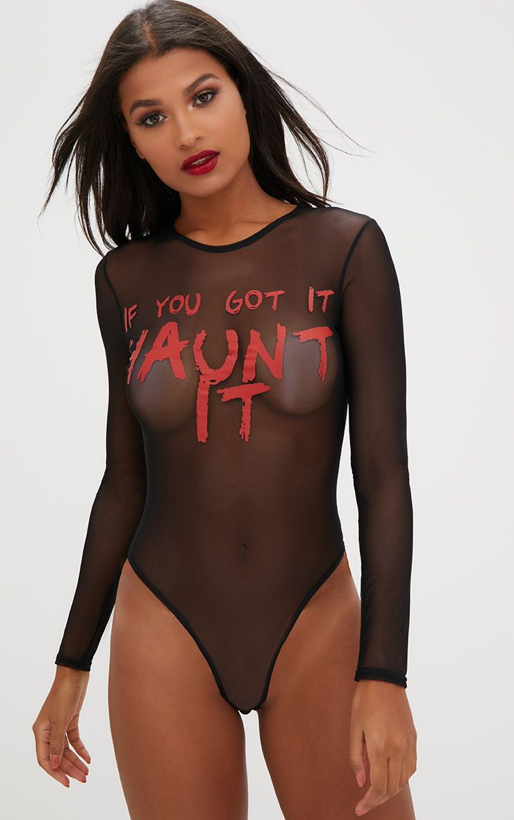 Haunt It Slogan Black Mesh Longsleeve Thong Bodysuit