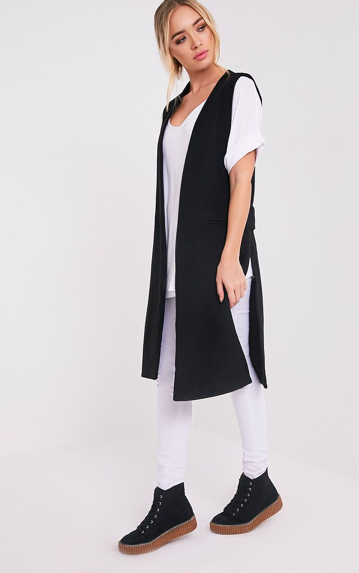 Finni Black Sleeveless Longline Jacket
