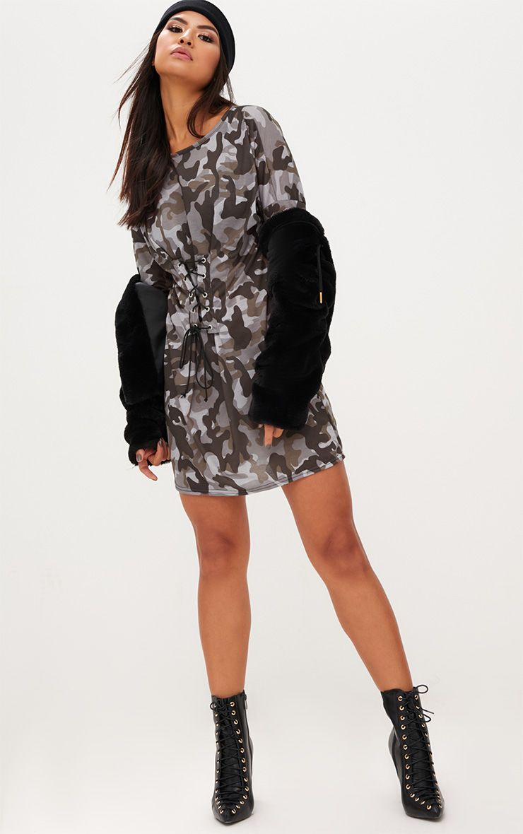 Grey Camouflage Corset T Shirt Dress