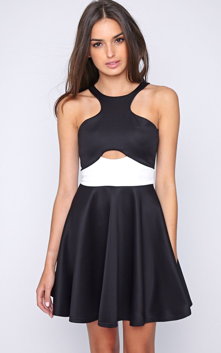 Lala Monochrome Cut Out Skater Dress  1