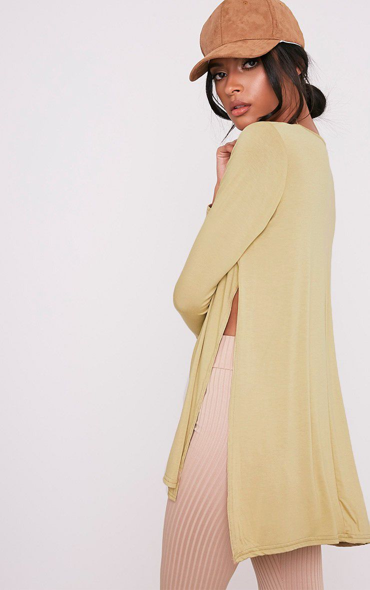 Basic Pale Khaki Longsleeve Side Split Top 1