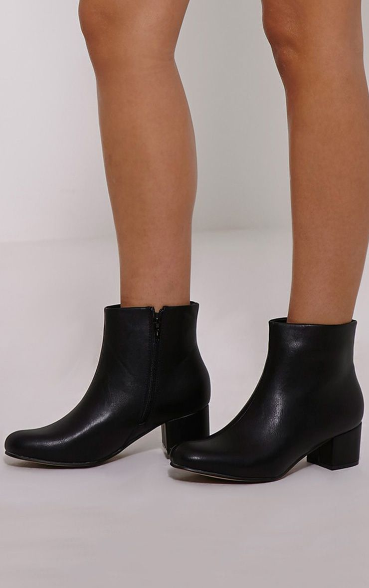 Stellah Black Faux Leather Heeled Ankle Boots 1