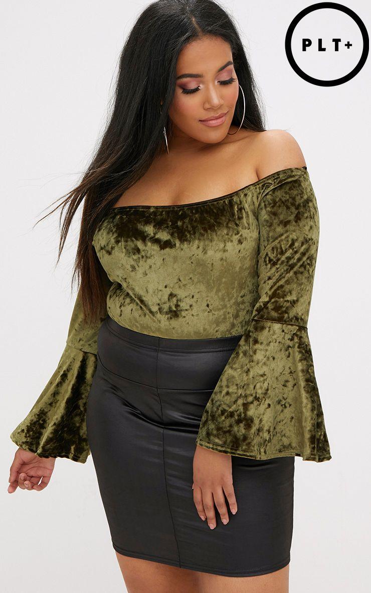 Plus Khaki Crushed Velvet Flare Sleeve Bodysuit