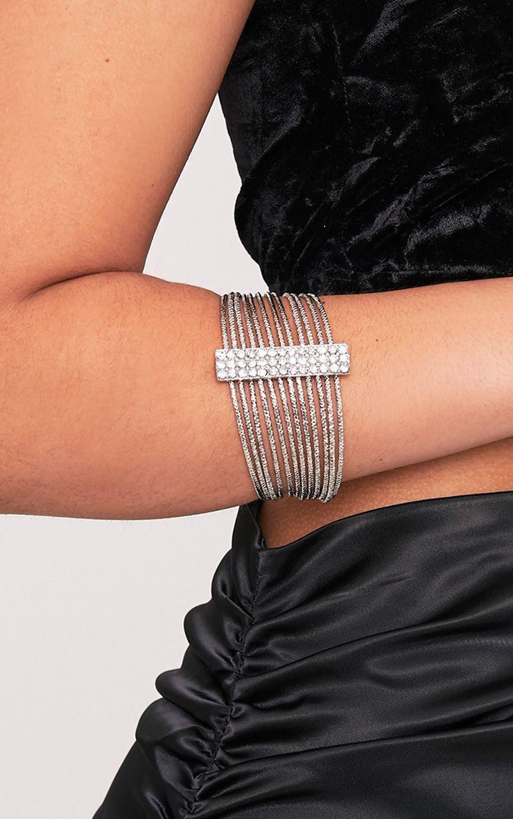 Yolane Silver Multi Layer Diamante Bangle