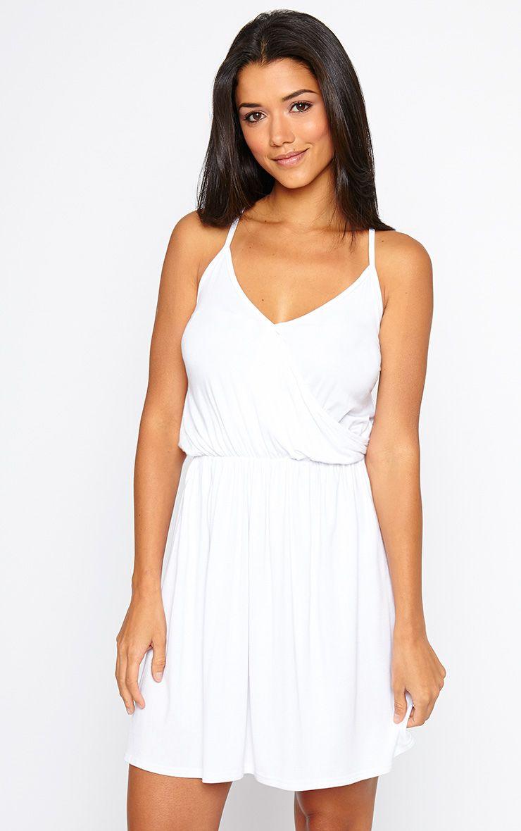 Jessy White Jersey Wrap Skater Dress 1