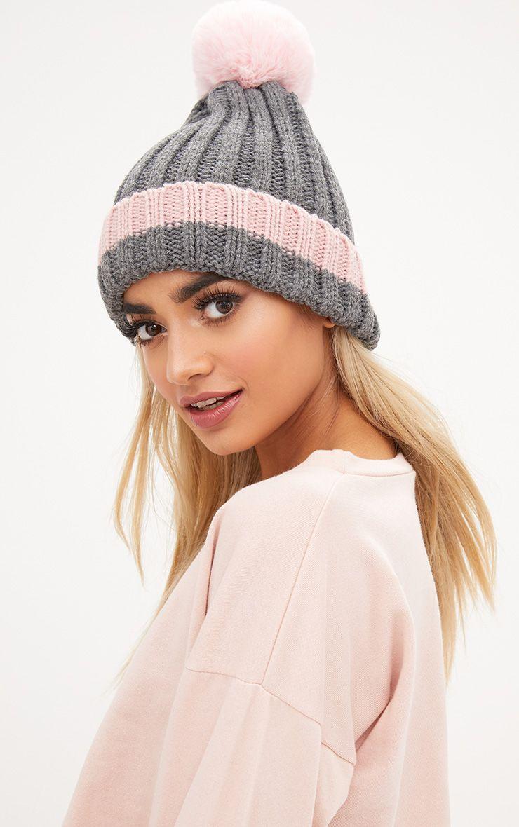 Pink Ribbed Faux Fur Pom Hat