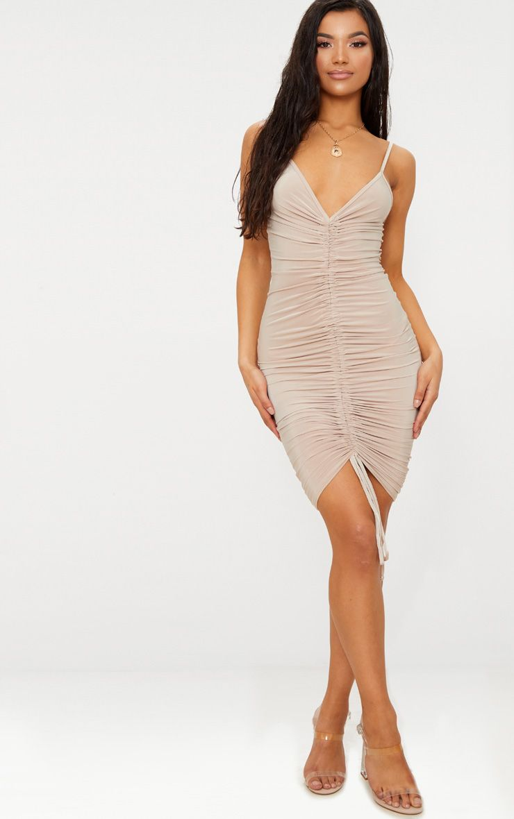 Lucie Nude Strappy Ruched Midi Dress 1
