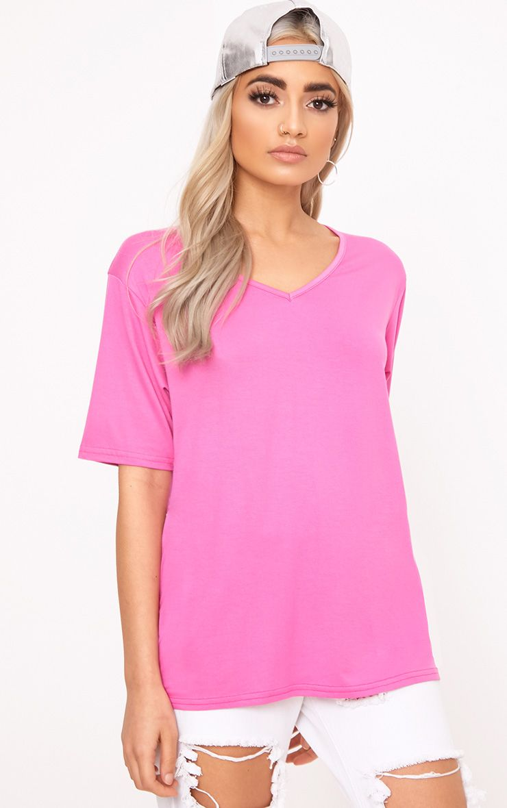 Basic Hot Pink V Neck T Shirt