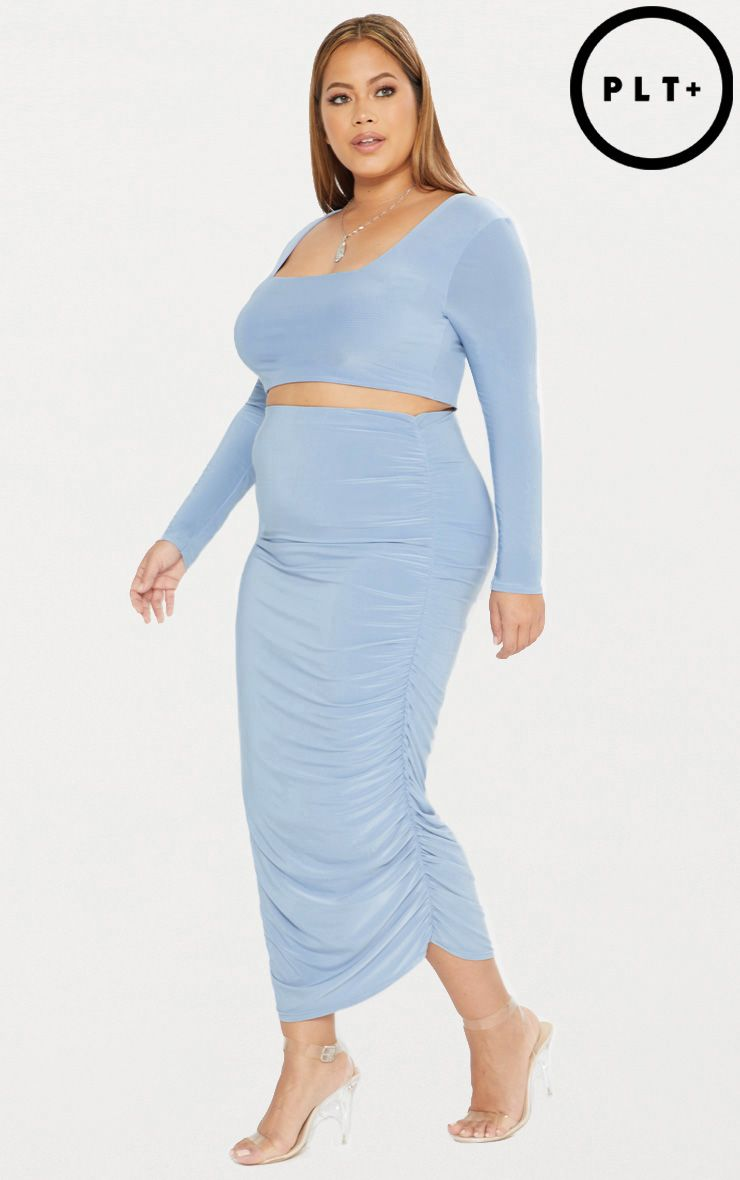 Plus Dusky Blue Second Skin Ruched Midi Skirt