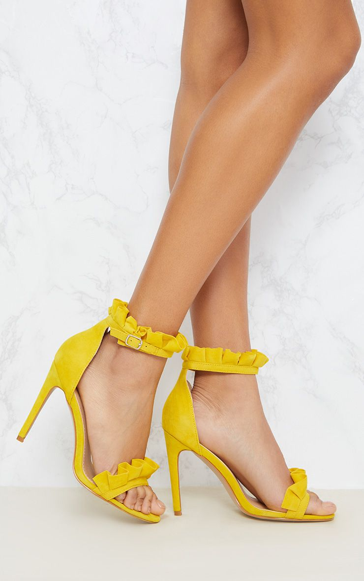 Bright Yellow Frill Strap Heels 1