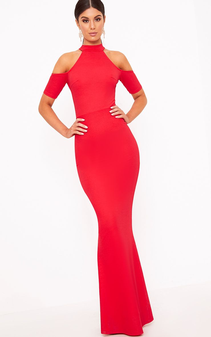 Red High Neck Cold Shoulder Maxi Dress