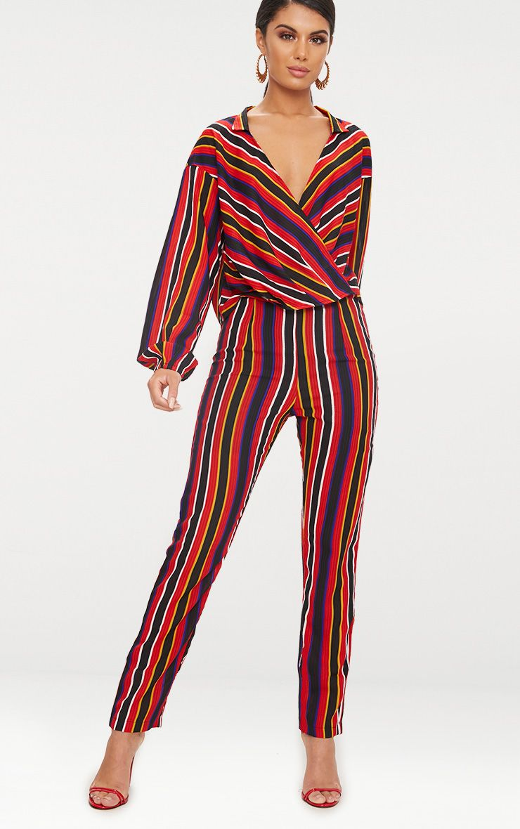 Red Stripe Woven Straight Leg Trousers