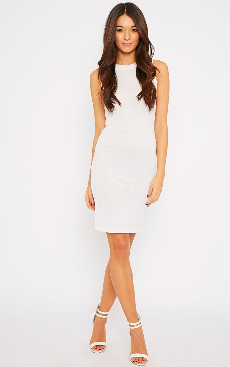 Bella White Ribbed Sleeveless Dress 1