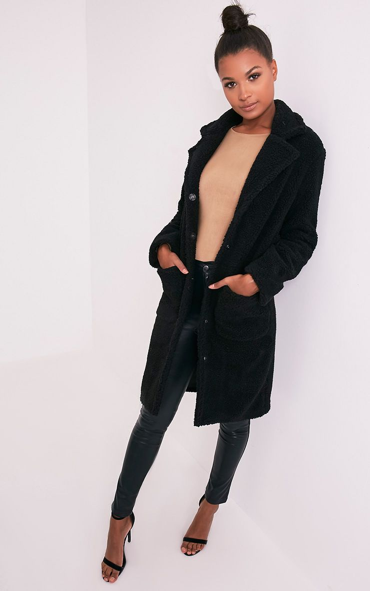 Taibah Black Teddy Fur Longline Coat