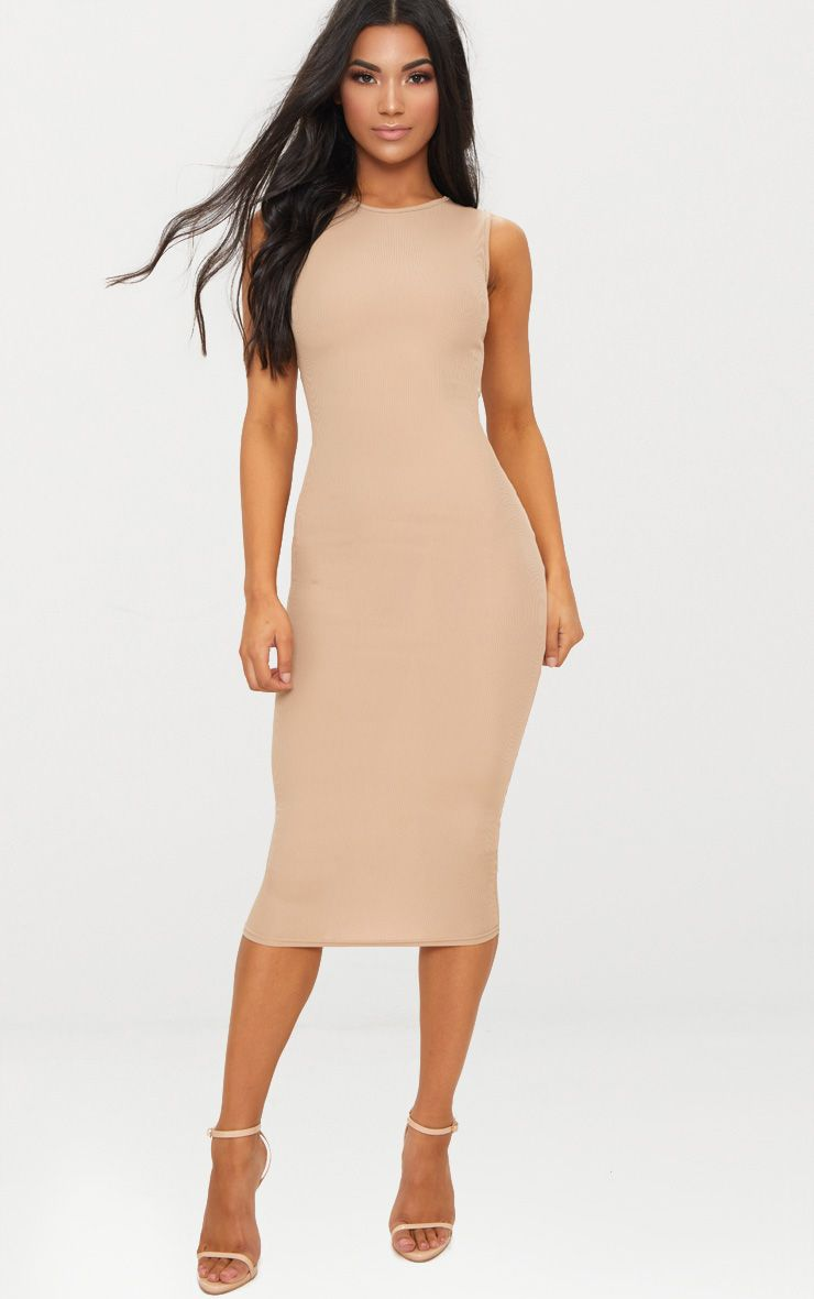 Stone Ribbed Scoop Neck Midi Dress