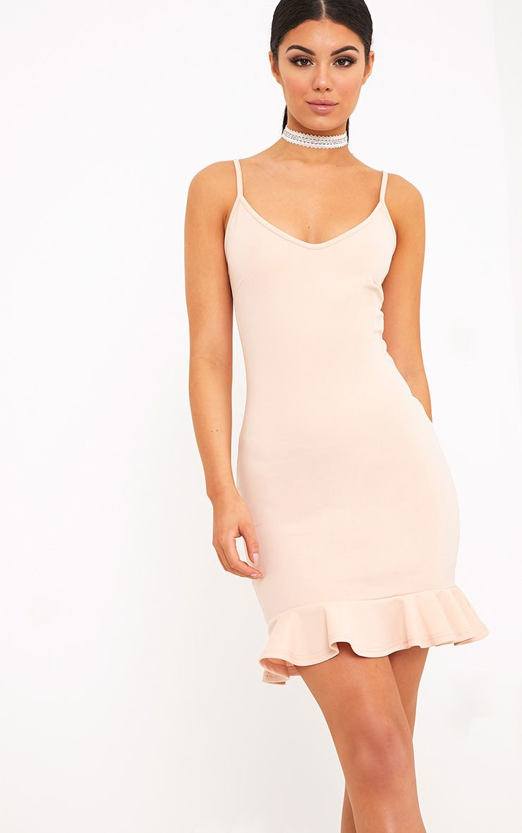 Essie Nude Strappy Frill Hem Bodycon Dress