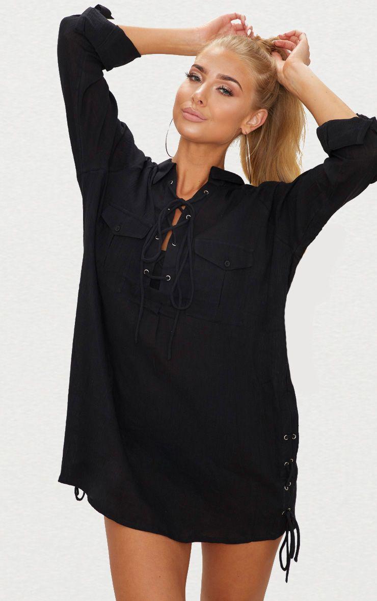 Black Lace Up Double Pocket Beach Shirt