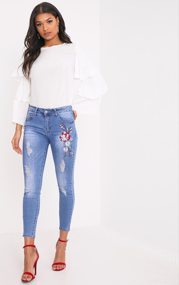 Souzanna Mid Wash Floral Embroidered Distress Skinny Jean