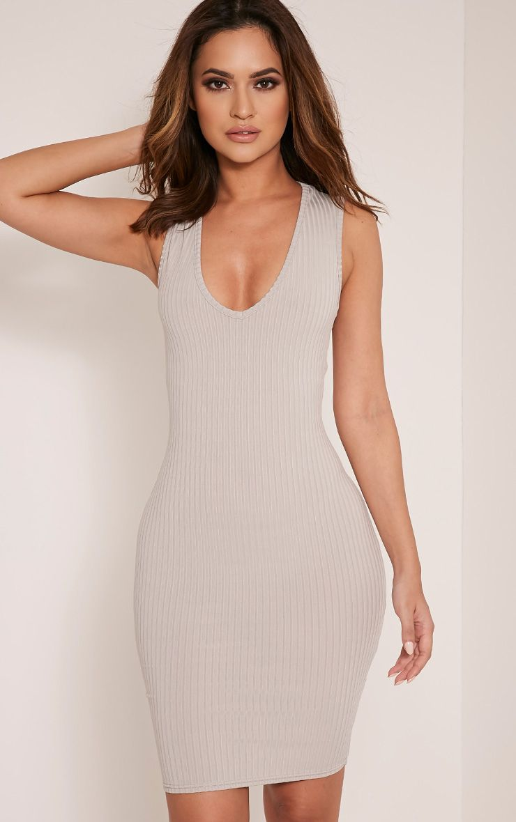 Gayna Grey Plunge Neck Ribbed Bodycon Dress