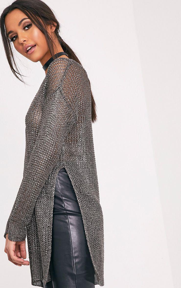 Margarita Gunmetal Metallic Knitted Side Split Oversized Jumper