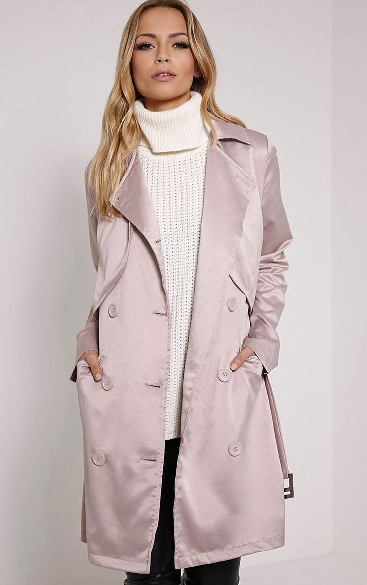 Almeria Mink Satin Feel Trench Coat