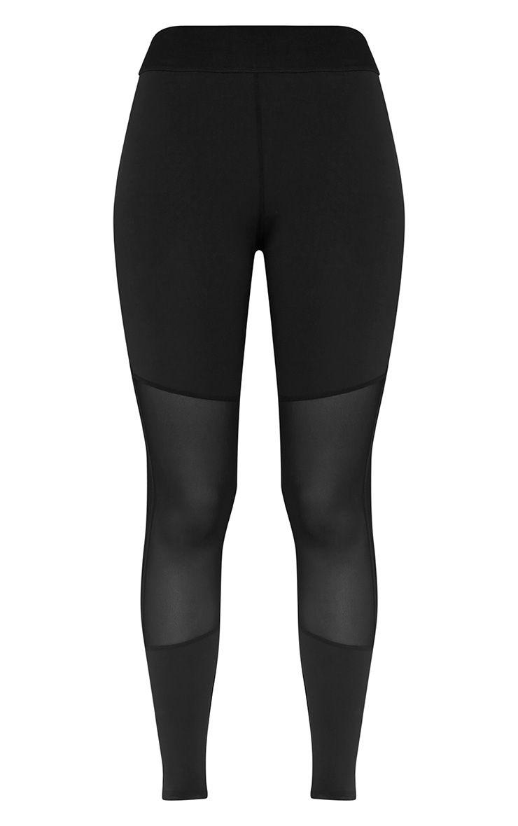 Leona Black Mesh Panelled Gym Leggings 3