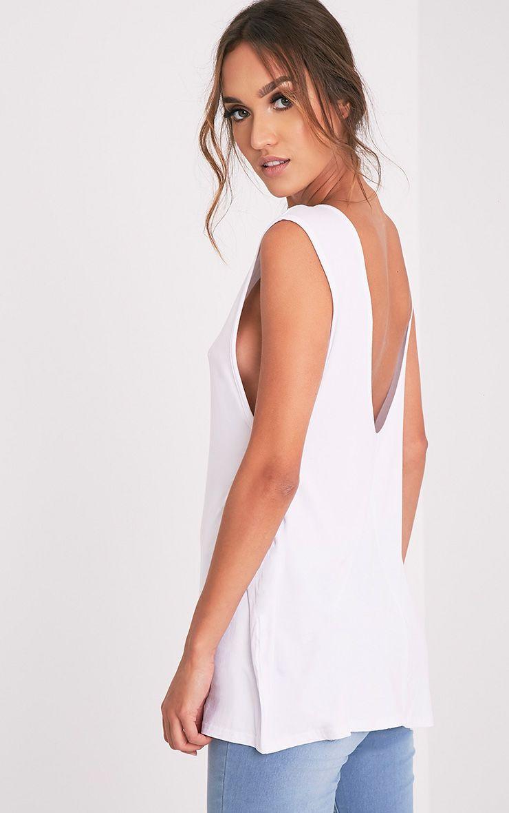 Basic White Jersey V Back Longline Vest