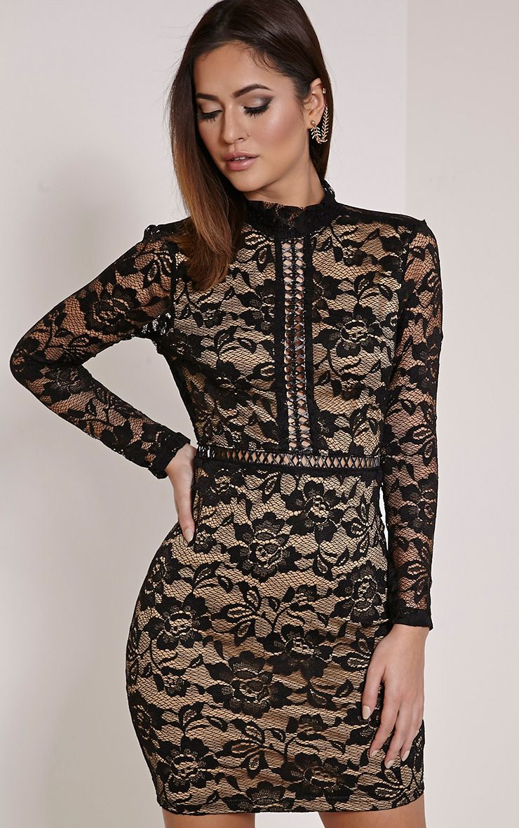 Melinda Black Open Back Lace Mini Dress 1