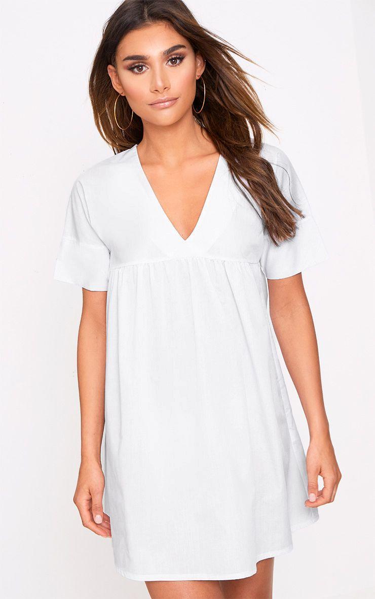 White Poplin Smock Dress