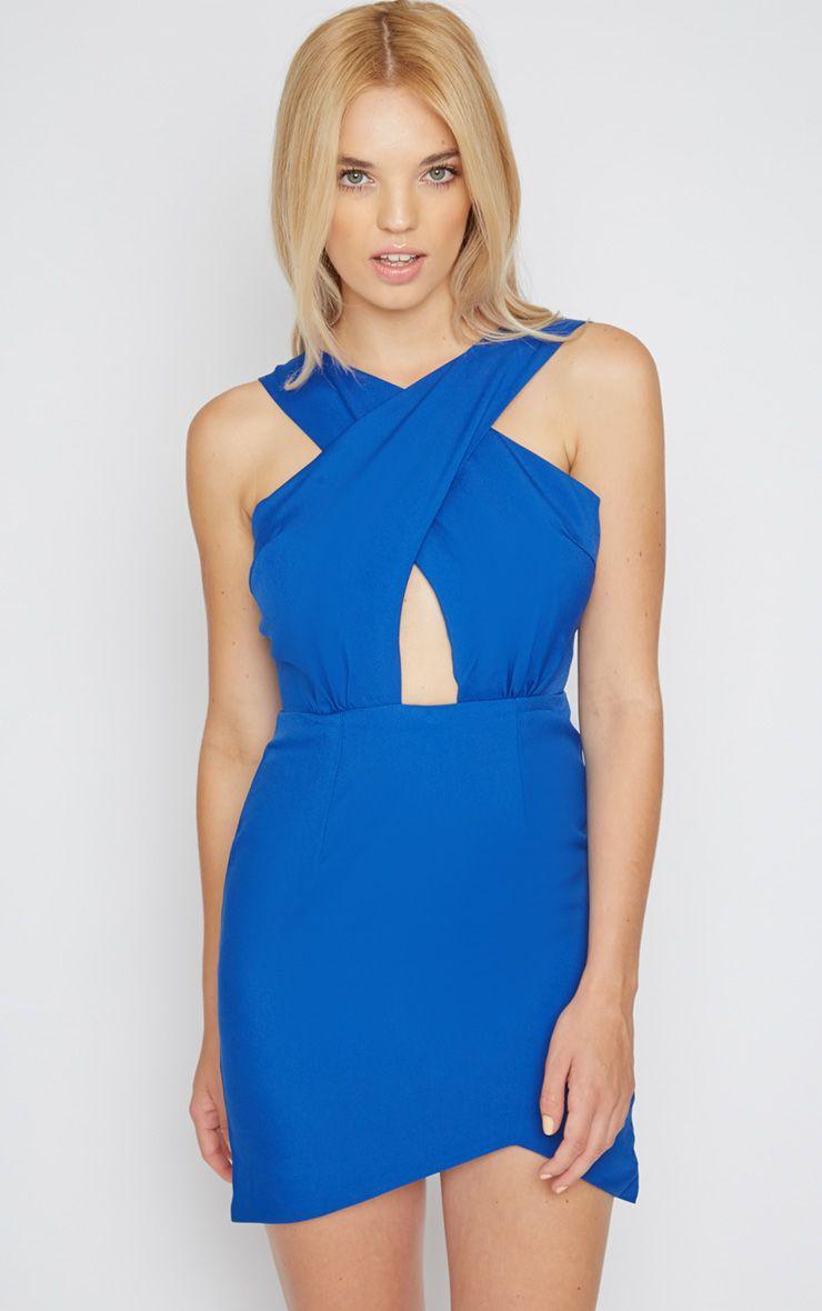 Reese Cobalt Cross Front Mini Dress 1