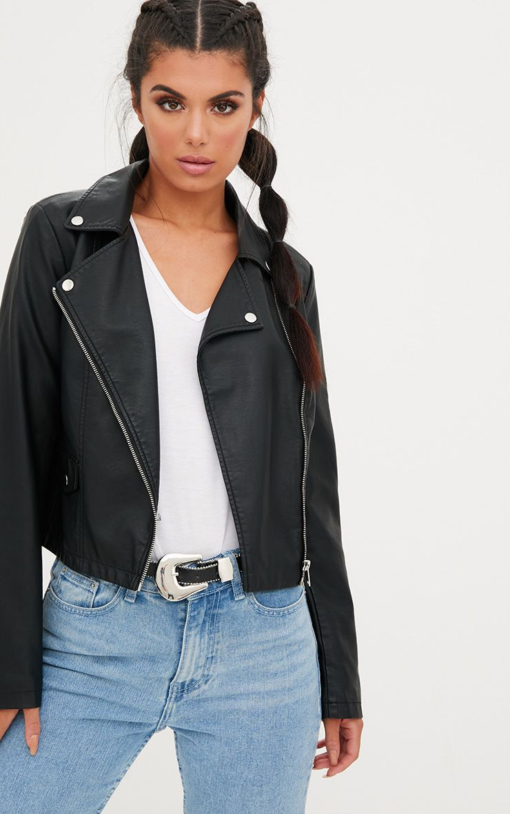 Black PU Biker Jacket With Pocket Detail