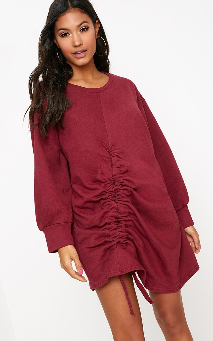Burgundy Front Ruched Sweater Dress