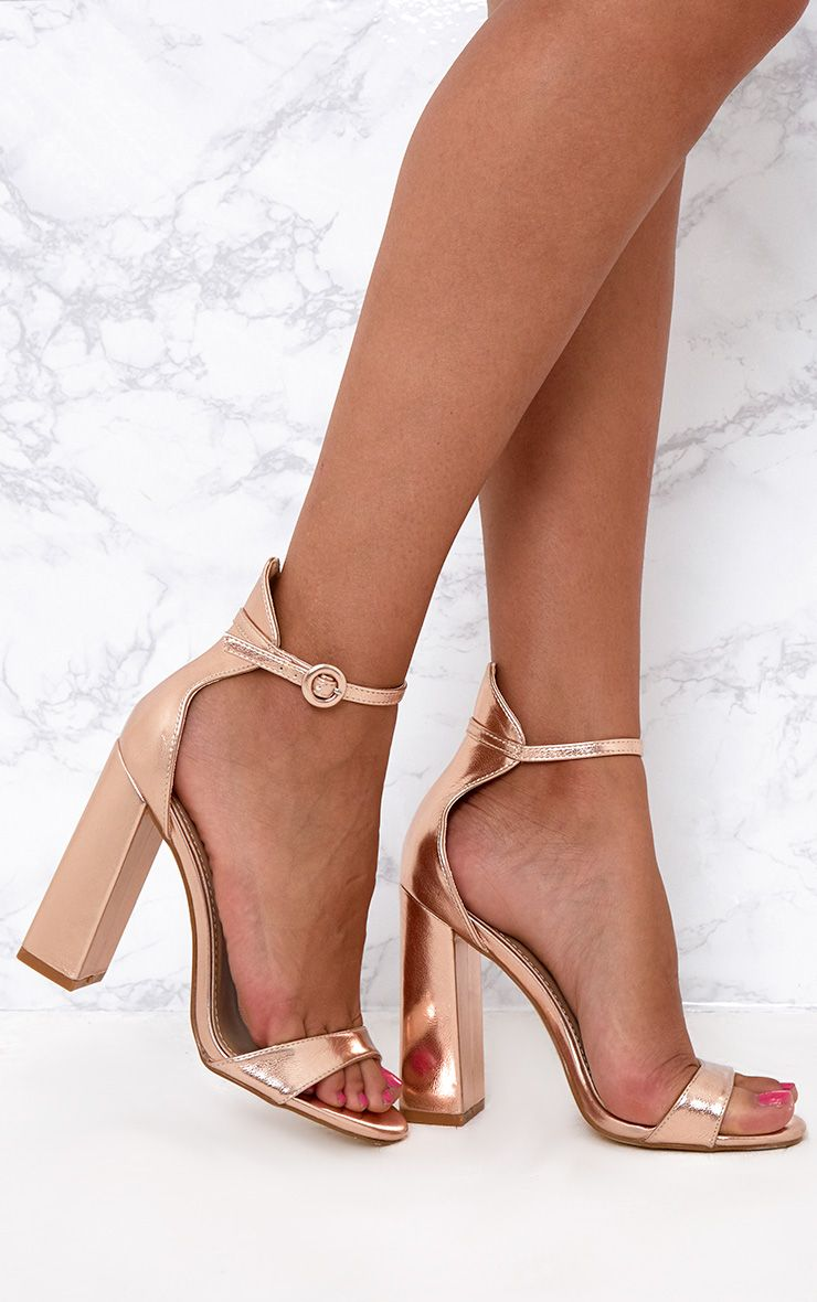 Rose Gold Faux Leather Block High Heeled Sandals